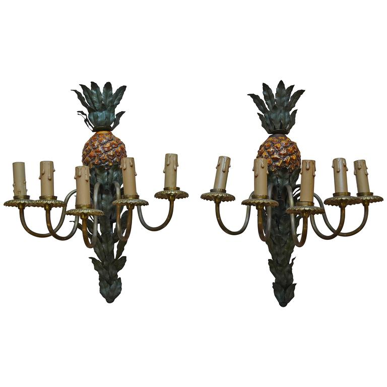 1960s Pineapple Wall Sconces signed Maison Charles e Fils