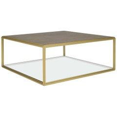 Cubist Bronze and Brass Occasional Square Table, PT6 Model, by P. Tendercool