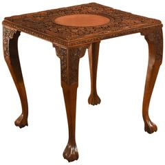 19th Century Victorian Carved Indian Antique Tea Table