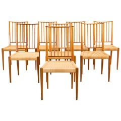 Set of Eight Josef Frank Chairs, Model 970, Svenskt Tenn, Sweden, 1960s