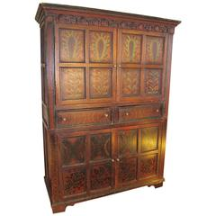 Irish Early 19th Century Folk Art Linen or Housekeepers Cupboard, circa 1820