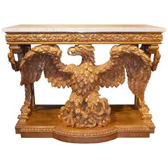 Pair of William Kent Design Carved Giltwood Eagle Consoles