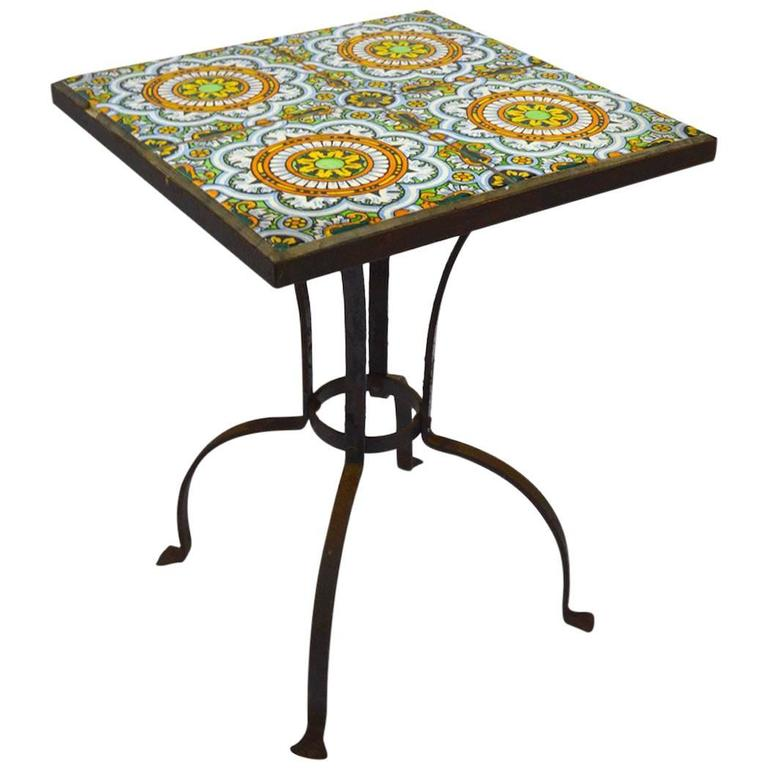 Wrought Iron Tile Top Table Possibly Catalina 1