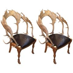 Anthony Redmile Continental Fallow Deer Antler Chairs with Cow Hide Seat