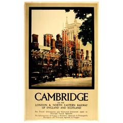 Original London & North Eastern Railway LNER Travel Poster Advertising Cambridge