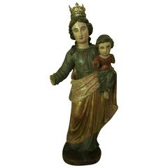 Statue of H.Maria and Child Jezus, 17th-18th Century, Polychrome Limewood