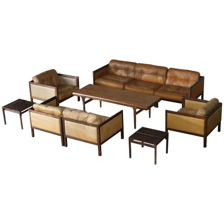 Illum Wikkelso Prototype Sofa Suite Made of Rosewood, circa 1968 For Sale