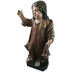 """Sint Janneke"" Saint John Child in Polychrome , 18th Century, Limewood 65 cmhigh"