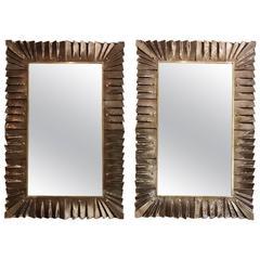 Late 20th Century Pair of Italian Murano Glass Mirrors