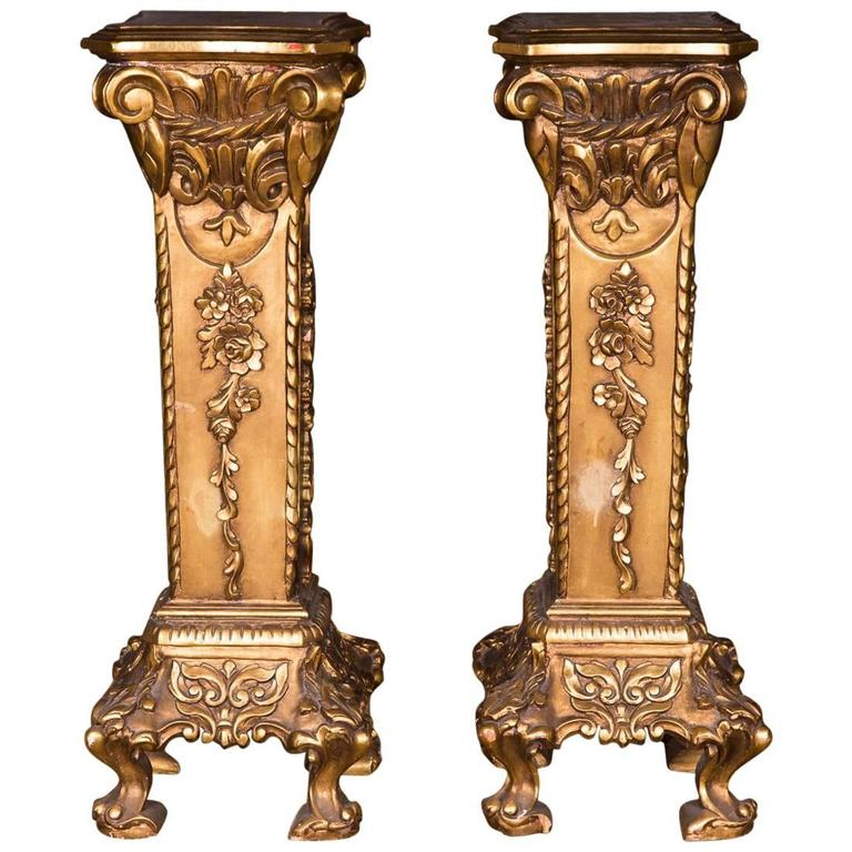 20th Century Two Golden Columns in the Style of Historicism Rich Ornamented