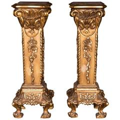 Two Golden High-Decorative Columns in the Style of Historicism