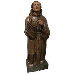 Holy Pascalis 17th Century Carved in Walnut and Polychromed( original ), Spanish