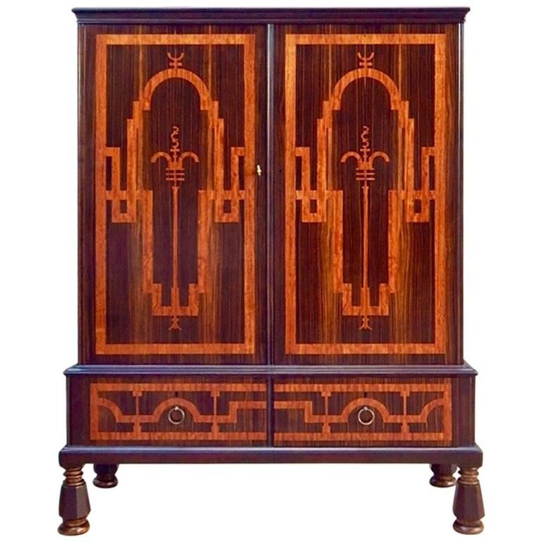 Swedish Art Deco Inlaid Storage Cabinet in Zebra and Rosewoods