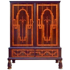 Swedish at Deco Inlaid Storage Cabinet in Zebra and Rosewoods