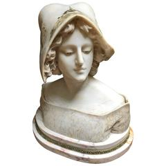 Woman Bust by Vicari Cristoforo White Marble
