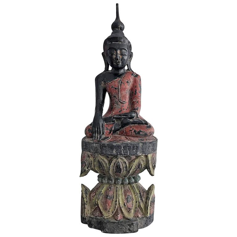 Antique Polychrome Buddha on Lotus Throne For Sale
