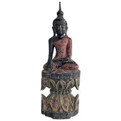 Antique Polychrome Buddha on Lotus Throne