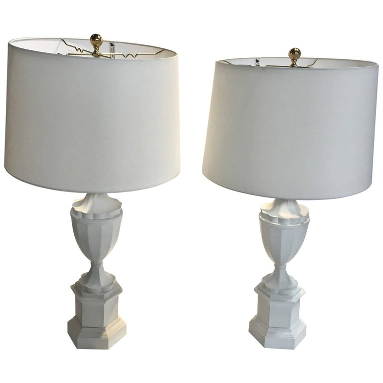 Pair of Plaster Finish Lamps in the Manner of Serge Roche or Sirmos