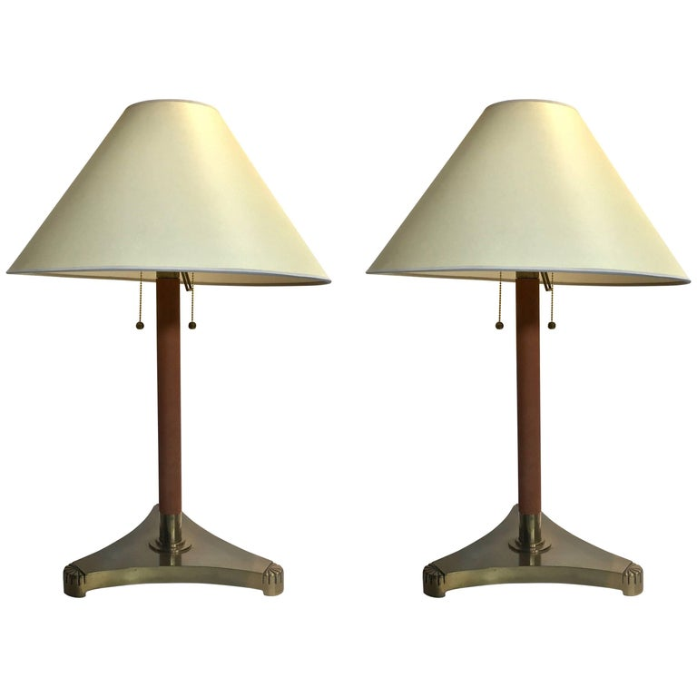 Pair of Brass and Leather Wrapped Extendable Table Lamps, Manner of Adnet