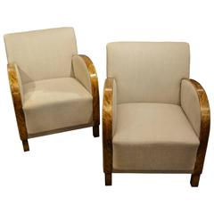 Art Deco Swedish Satin Birch Club Chairs