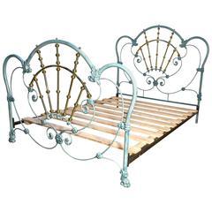 Glamorous Hollywood Style Blue Enamel Iron and Brass Double Bed