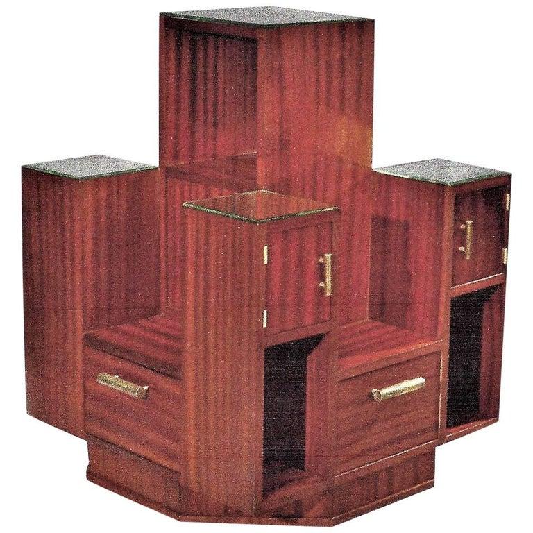 Display Case by DIM, Mahogany Veneers, France, Art Deco, circa 1930 For Sale