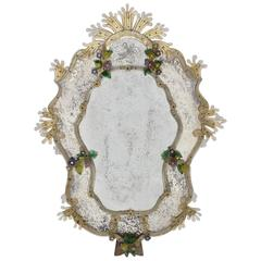 Venetian Handmade Wall Mirror with Multicolored Glass Flowers, 1950s, Italy