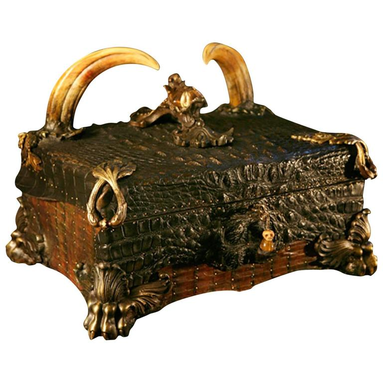 Crocodile Cigar Box With Alligator Skin And Wartog Teeth