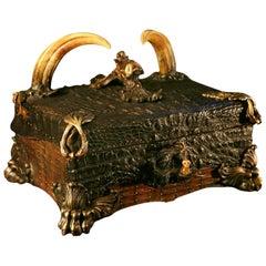 Crocodile Cigar Box with Alligator Skin and Wartog Teeth and Cedar Wood