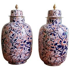 English Pottery Large Imari Vases and Covers, circa 1860-1880
