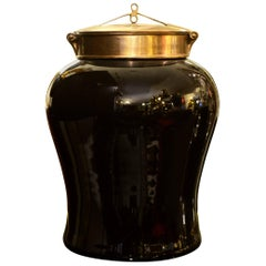 Indo Tea Jug in Black Ceramic and Brass Top