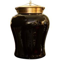 Indo Tea Jug in Black Ceramic and Brass Top