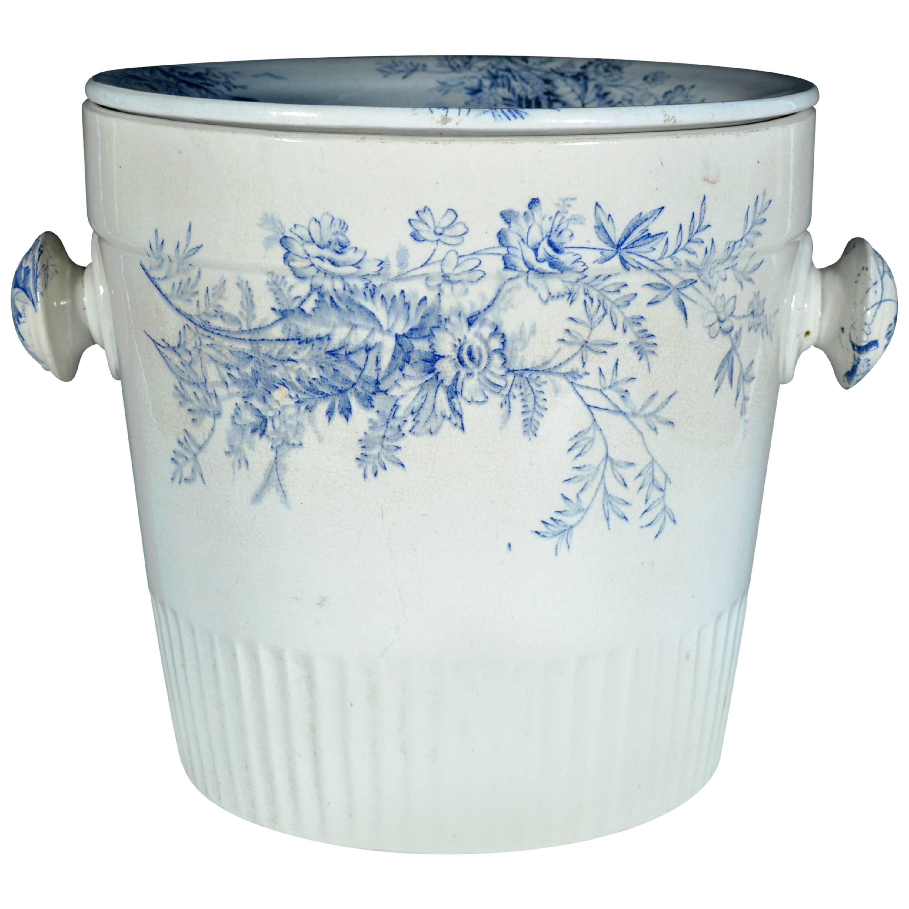 Blue and White Floral Pottery Covered Pil and Cover, Vera Pottery