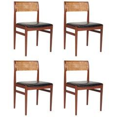 Four Teak W26 Side Chairs by Erik Worts