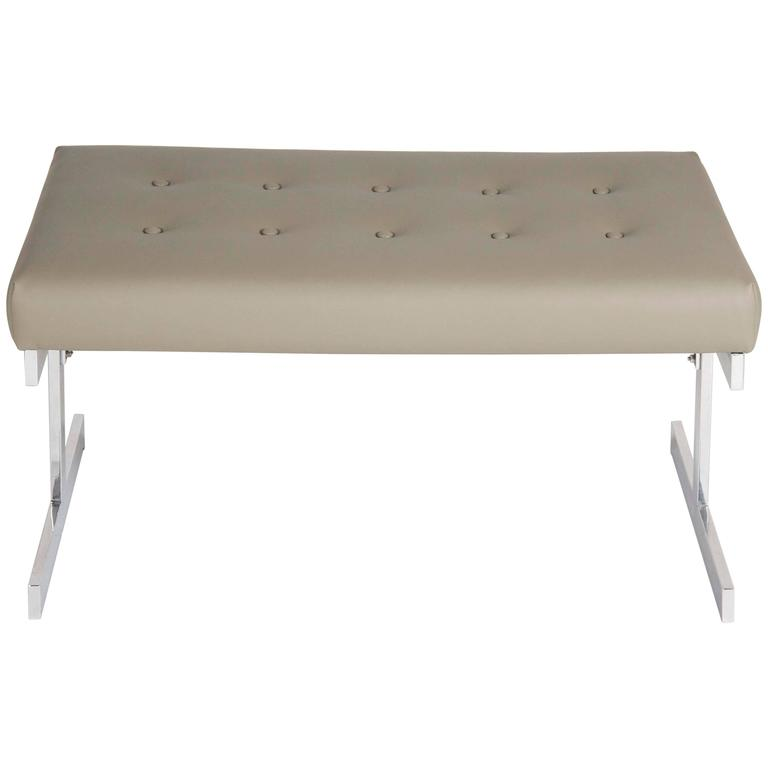 Polished Aluminium Leather Top Bench in the Manner of Milo Baughman
