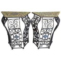 Pair of Artistic Iron and Ceramic Tile Consol