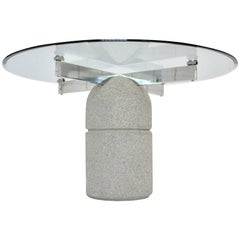 Mid Century Modern Vintage Dining Table Stone Glass Giovanni Offredi 1973, Italy