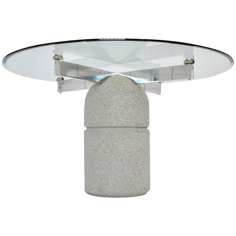 Mid Century Modern Vintage Dining Table Stone Glass Giovanni Offredi 1973 Italy For Sale