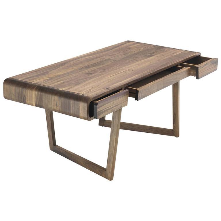 Beau Stylish Office Desk In Solid Walnut Wood