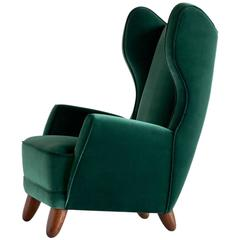 Exceptional 1940s Wingback Chair Attributed to Guglielmo Ulrich
