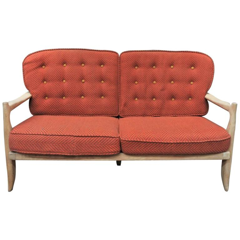 French Oak Sofa by Guillerme and Chambron for Votre Maison, 1960s
