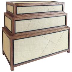 Suduca & Merillou Chest of Drawers, Woven Cane and Brushed Pine Wood
