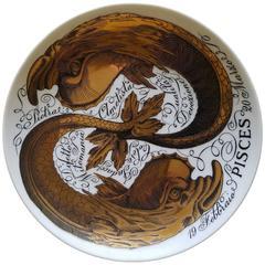 Vintage Piero Fornasetti Porcelain Zodiac Plate, Astrali Pattern, Pisces, 1971