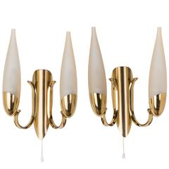 Wonderful Pair of 1950s Italian Candelabra Sconces in the Manner of Stilnovo