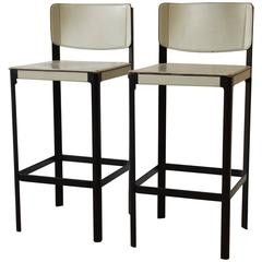 Pair of Mateo Grassi Sistina Italian Leather Bar Stools, Italy