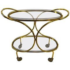 Faux Bamboo Serving Cart, Trolley in Brass and Glass