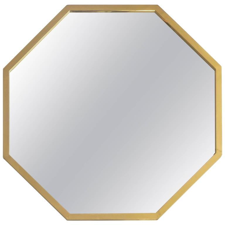 Octagonal Italian Brass Framed Mirror For Sale