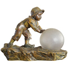 Playful Antique Jugendstil Boy and Snowball Table or Desk Lamp by A. de Ranieri