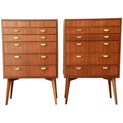 Rare Pair of Helmut Magg for Wk Möbel Walnut Mid-Century Bachelor Chests, 1950s