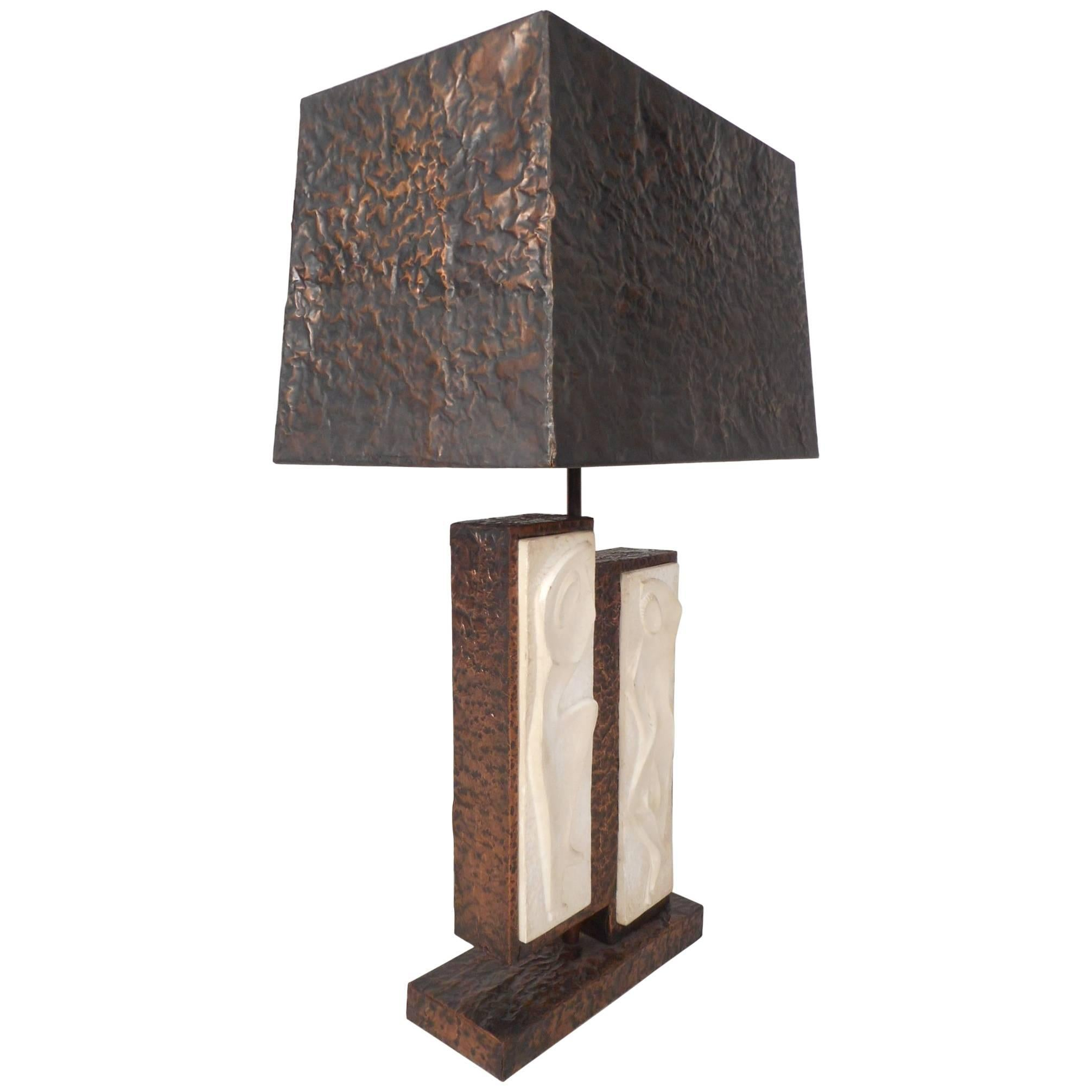 Unique Mid-Century Modern Textured Copper Table Lamp
